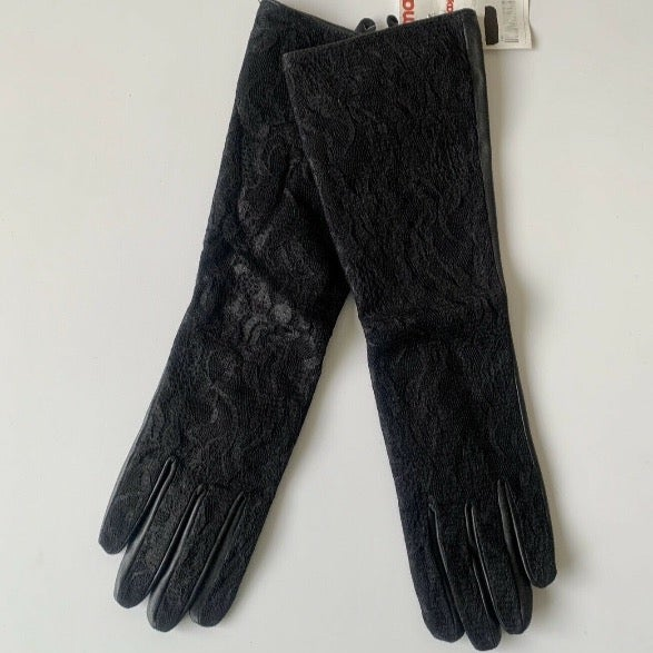 Black Leather Flower Lace Long Gloves M