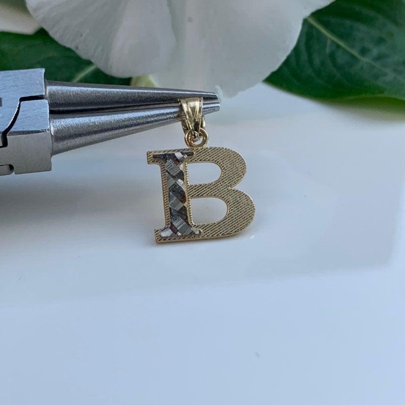 "14k Yellow Gold Initial Pendant ""B"""