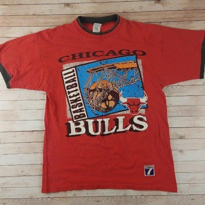 VTG 90s Chicago Bulls Logo 7 Tee Shirt