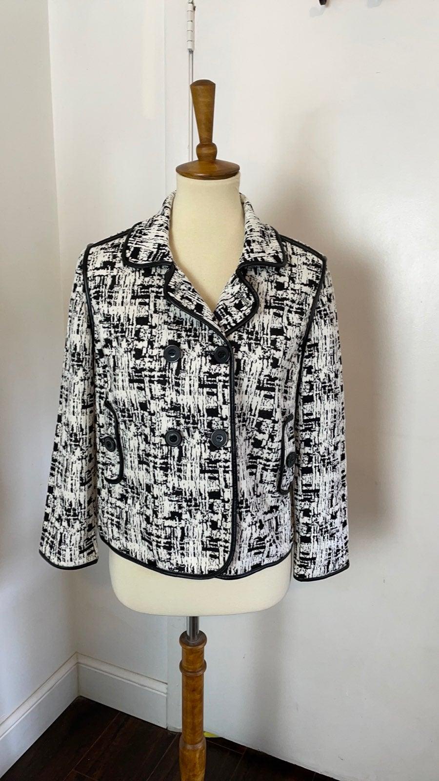 Chicos Black & White Knit Blazer 0
