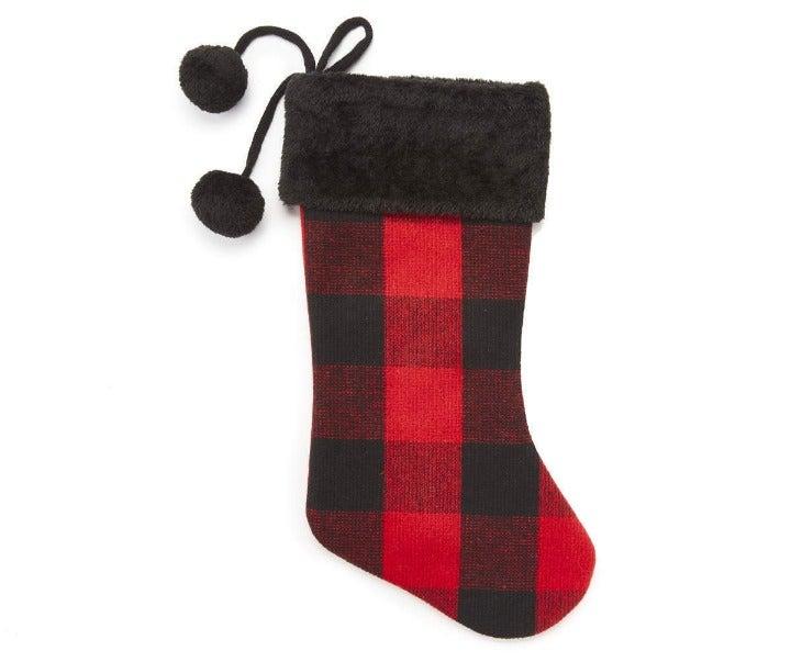 Red & Black Buffalo Check Stocking