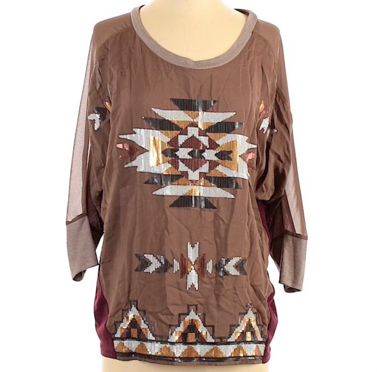 Miss Me Sequined Tribal Top Size M