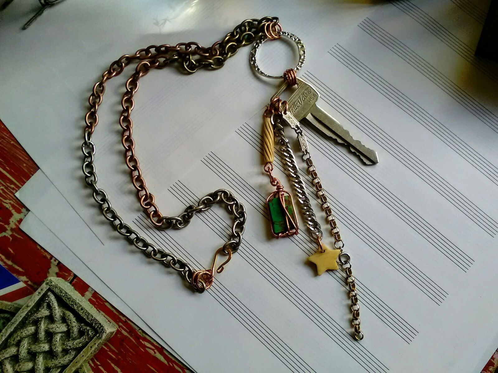 Handmade Key & Turquoise Charm Necklace