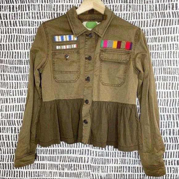 Anthropologie Beaded  Military Jacket