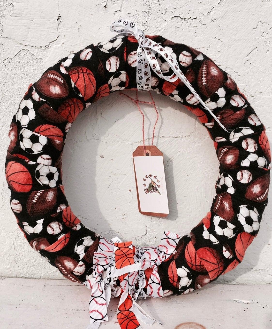 Handmade Sports ribbon wreath, boy