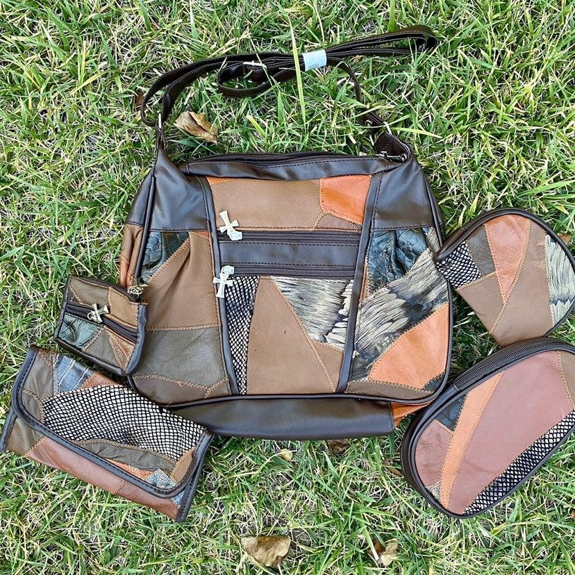 Brookstone Leather Patch Purse Set Of 5
