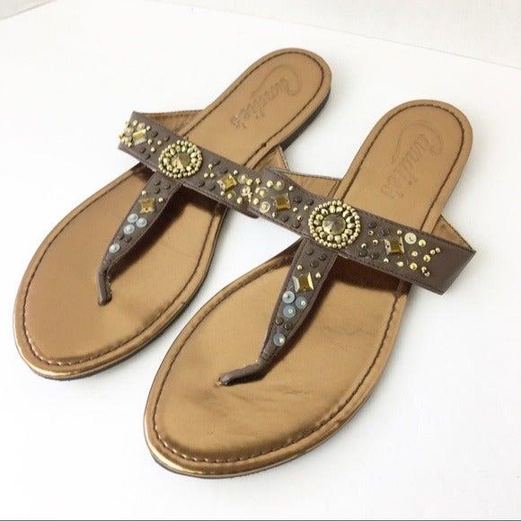 SZ 11 Brown Candie's Thong Beaded Sandal