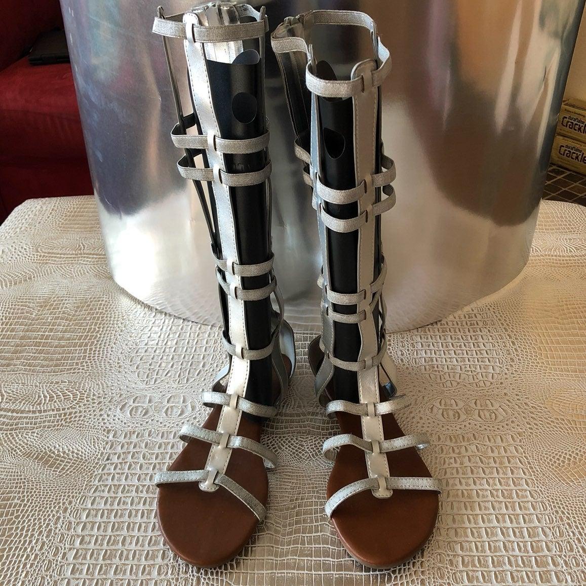 NEW SILVER GLADIATOR HIGH LEG SANDALS