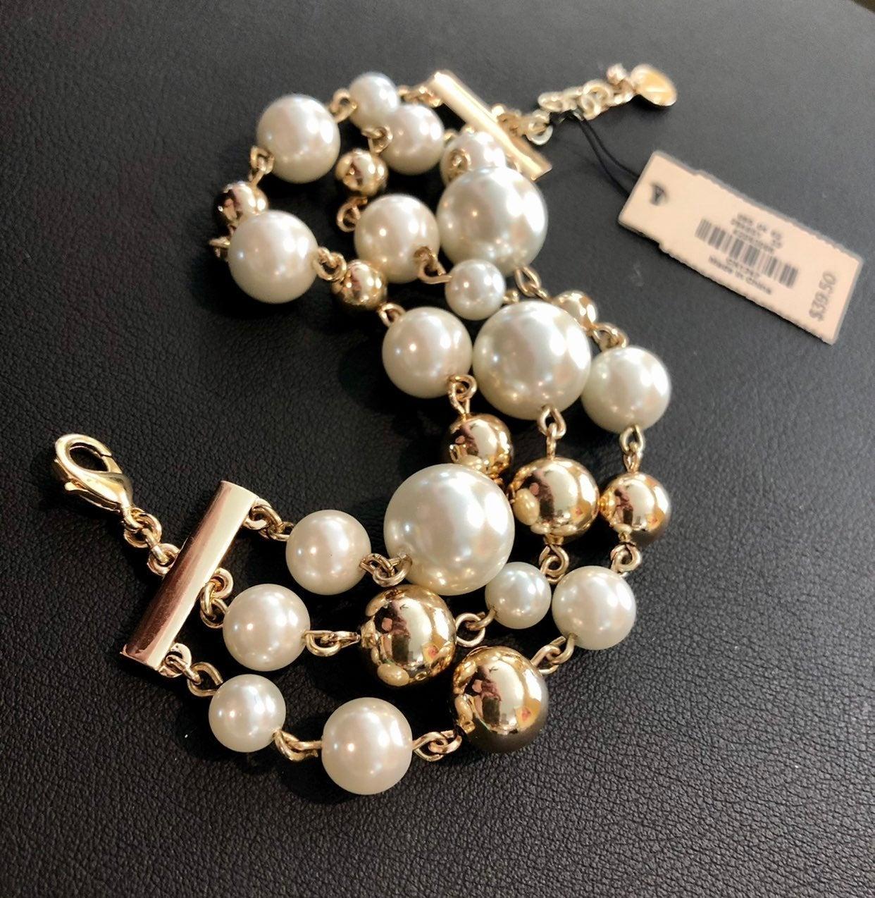 NWT Talbots Chunky Pearl & Gold Bracelet