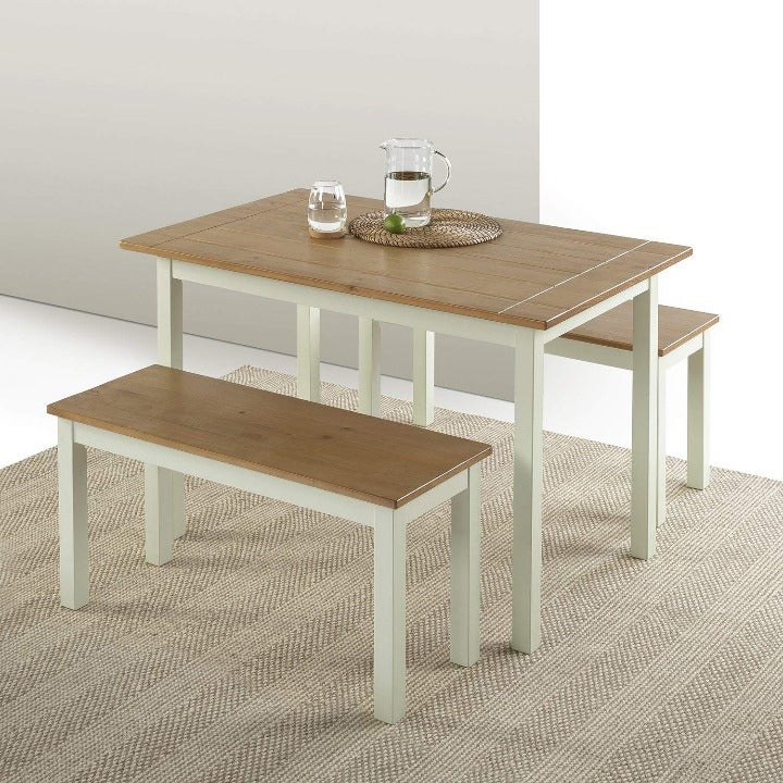 Zinus Becky Dining Table with Benches