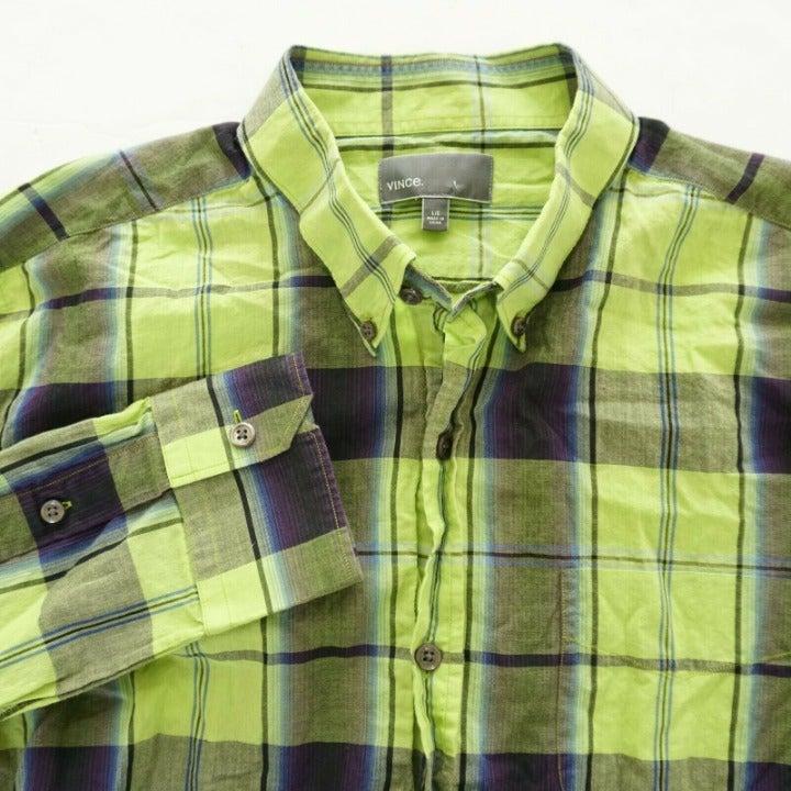 Vince Mens Button Long Sleeve Shirt Sz L