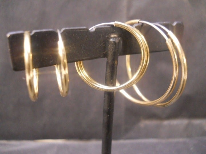 Beautiful Gold Hoops Earrings, 3 Pairs,