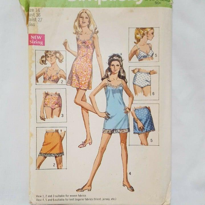Misses Slip Bra Panties Sewing Pattern
