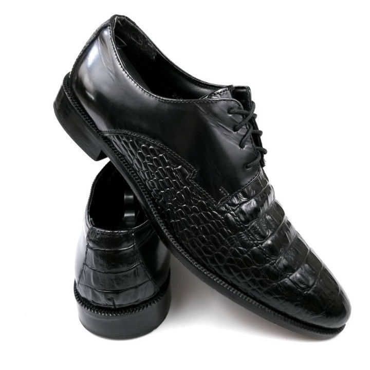 Stacy Adams   Black Crocodile Skin Shoes
