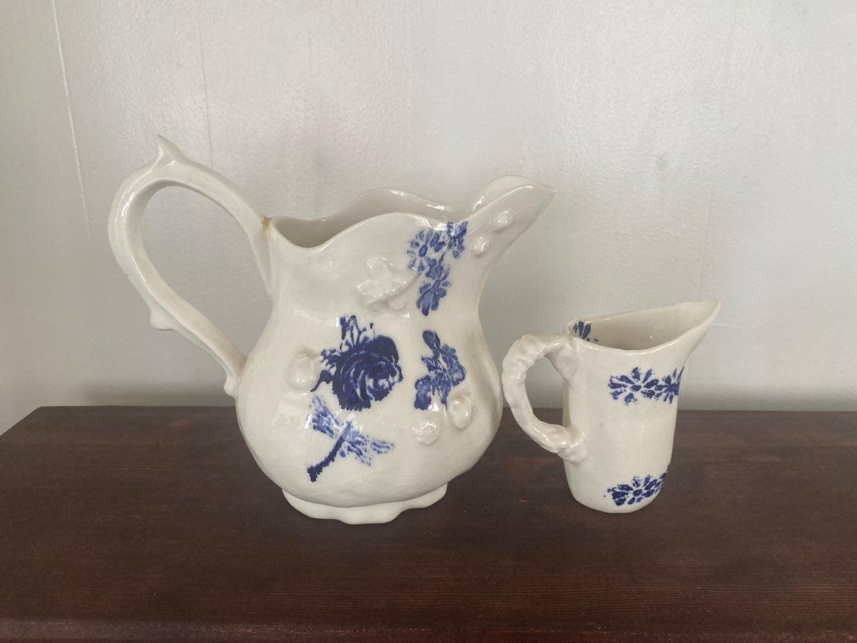 Handmade pitcher and creamer from Anthro