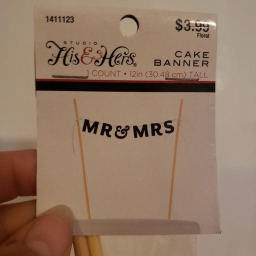 Mr & Mrs cake topper banner