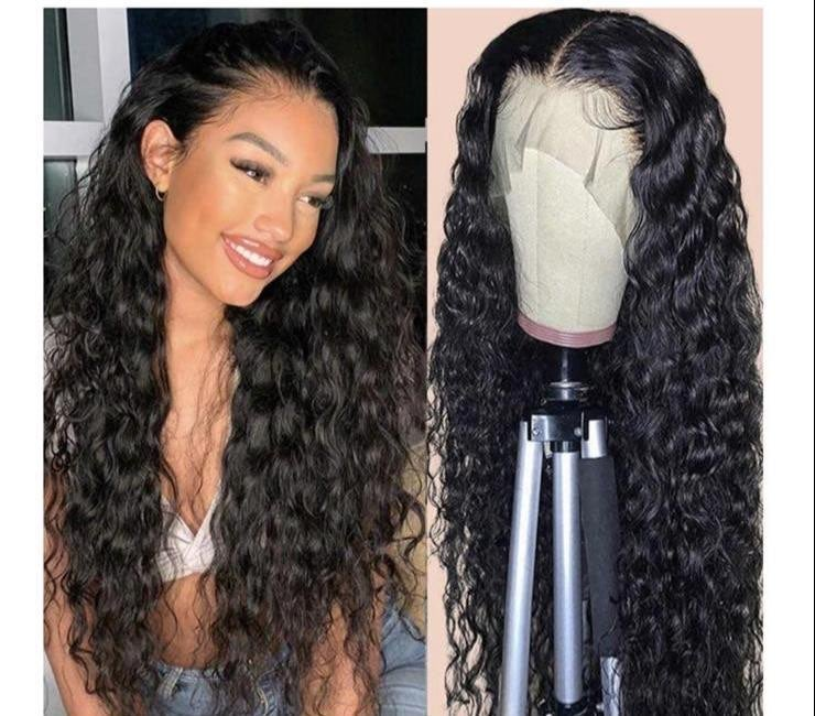 lace front wig human hair water wave 180