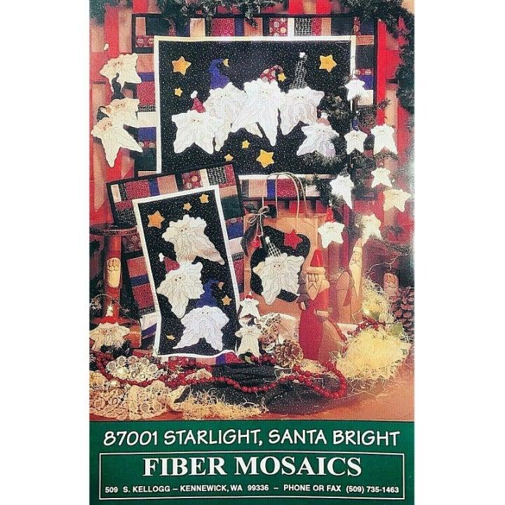 Starlight Santa Bright Fiber Mosaics Christmas Quilt Pin Bag & Ornament Pattern