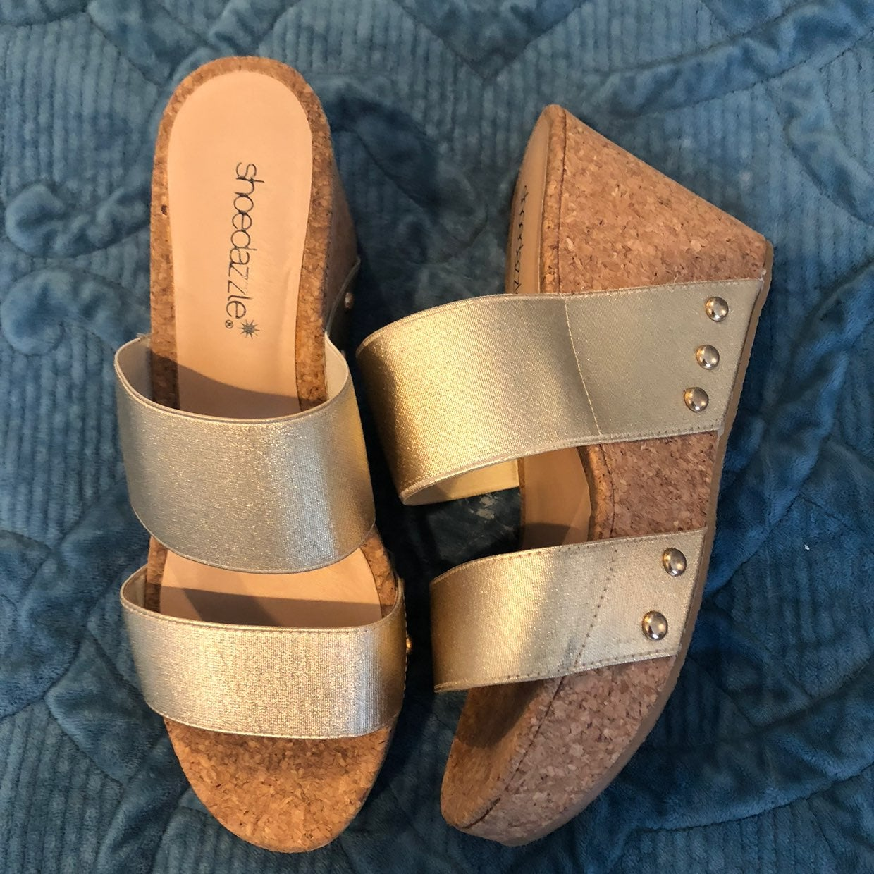 ShoeDazzle Golden Wedge Shoes 7.5