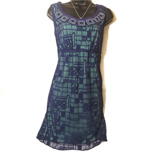 Blue Square Lace and Aquamarine Dress