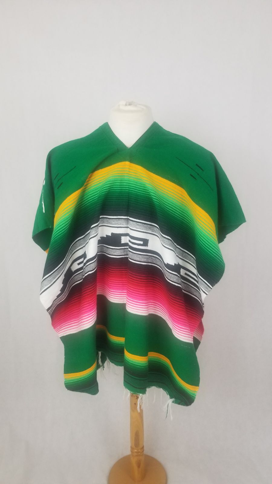 Authentic Mexican Poncho Colorful Green