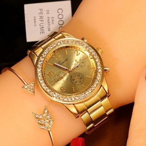 Women Watch Quartz Crystal Gold NEW