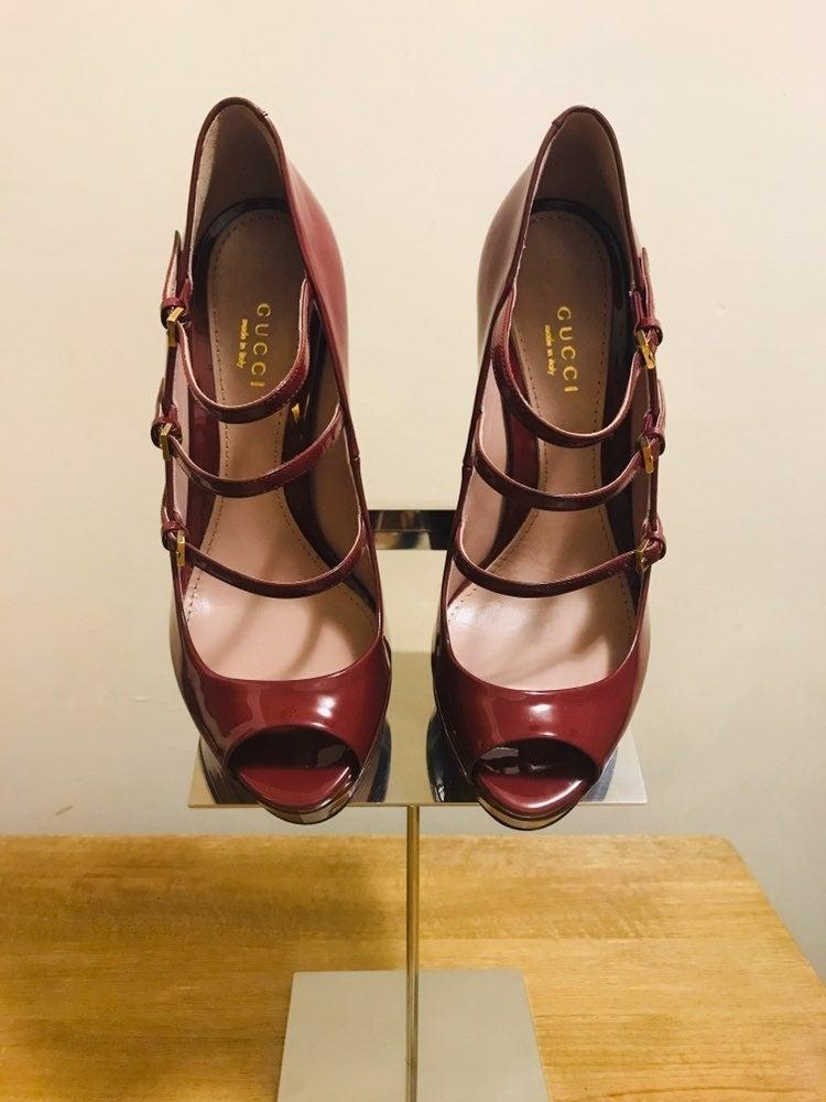 GUCCI Lisbeth multi strap patent leather