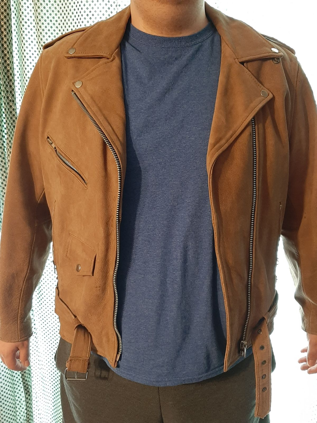Unisex Brown Leather Motorcycle Jacket w