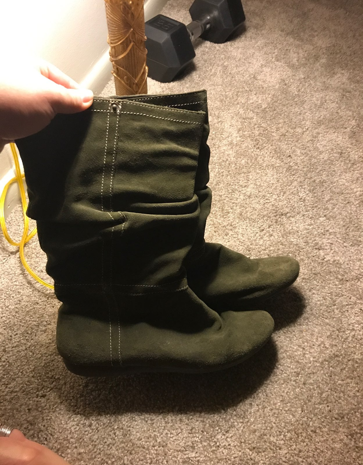 Green Suede Bass boots 9