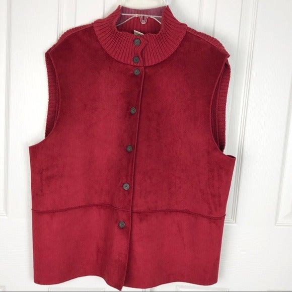 J.jill Red Faux Suede Mockneck Vest Size