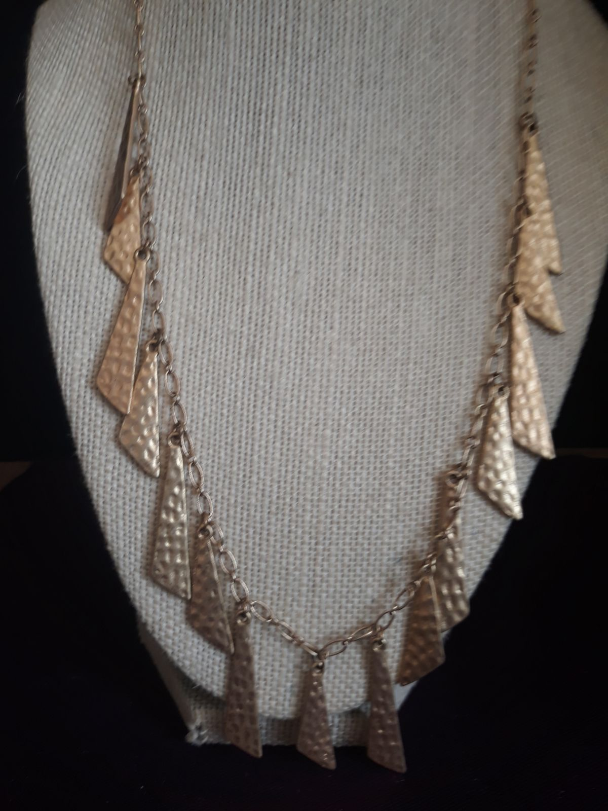Signed gold dangling statement necklace