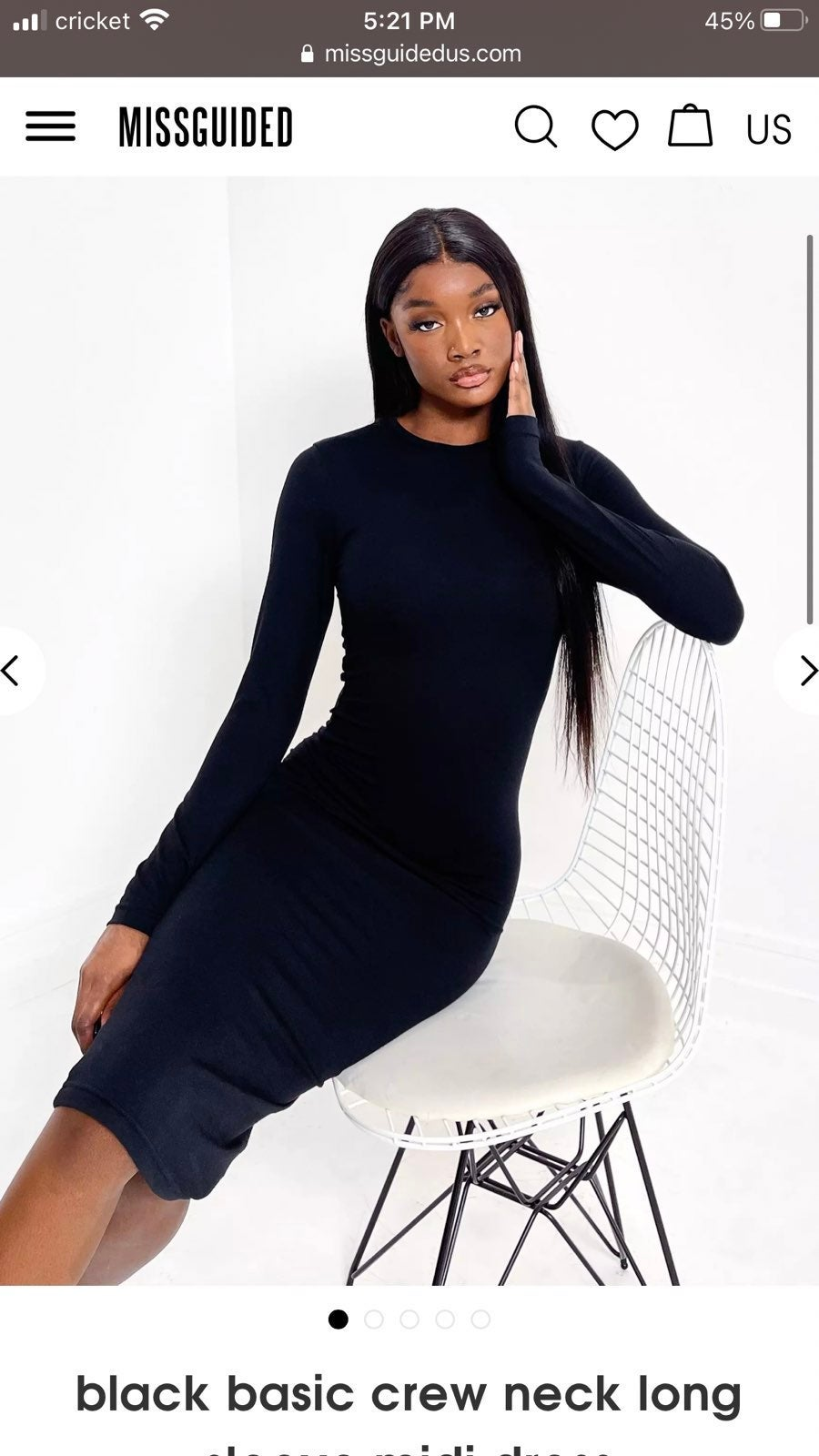 Missguided crew neck long sleeve dress