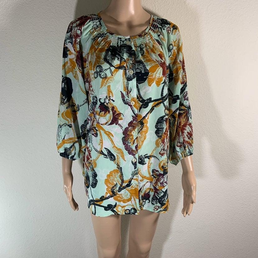 LOGO Lori Goldstein BOHO blouse S