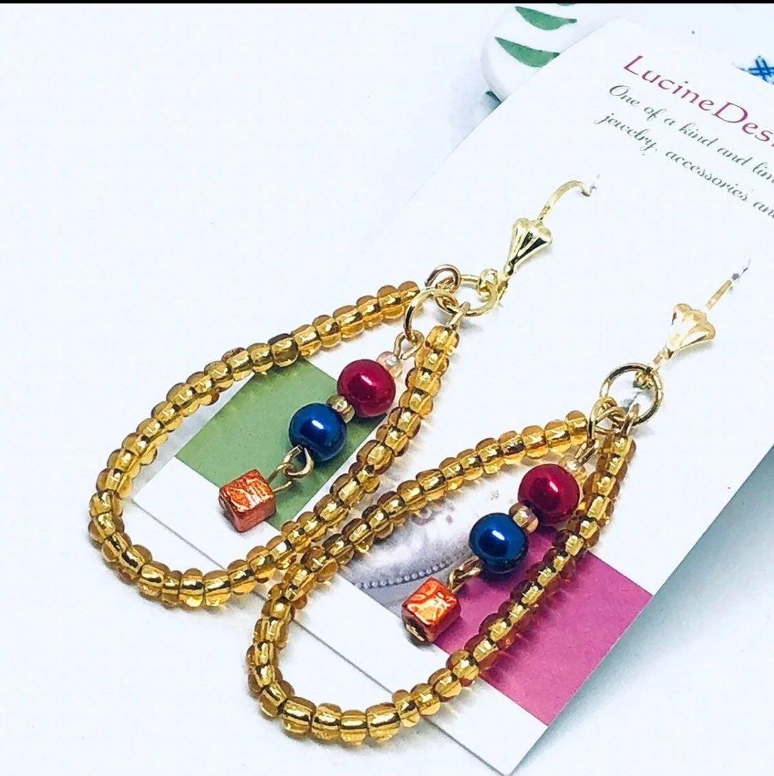 Gold drop earrings - beaded - new