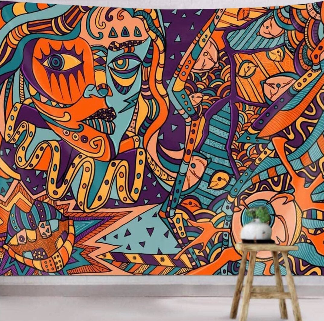 Color Of Joy , Abstract Art Tapestry