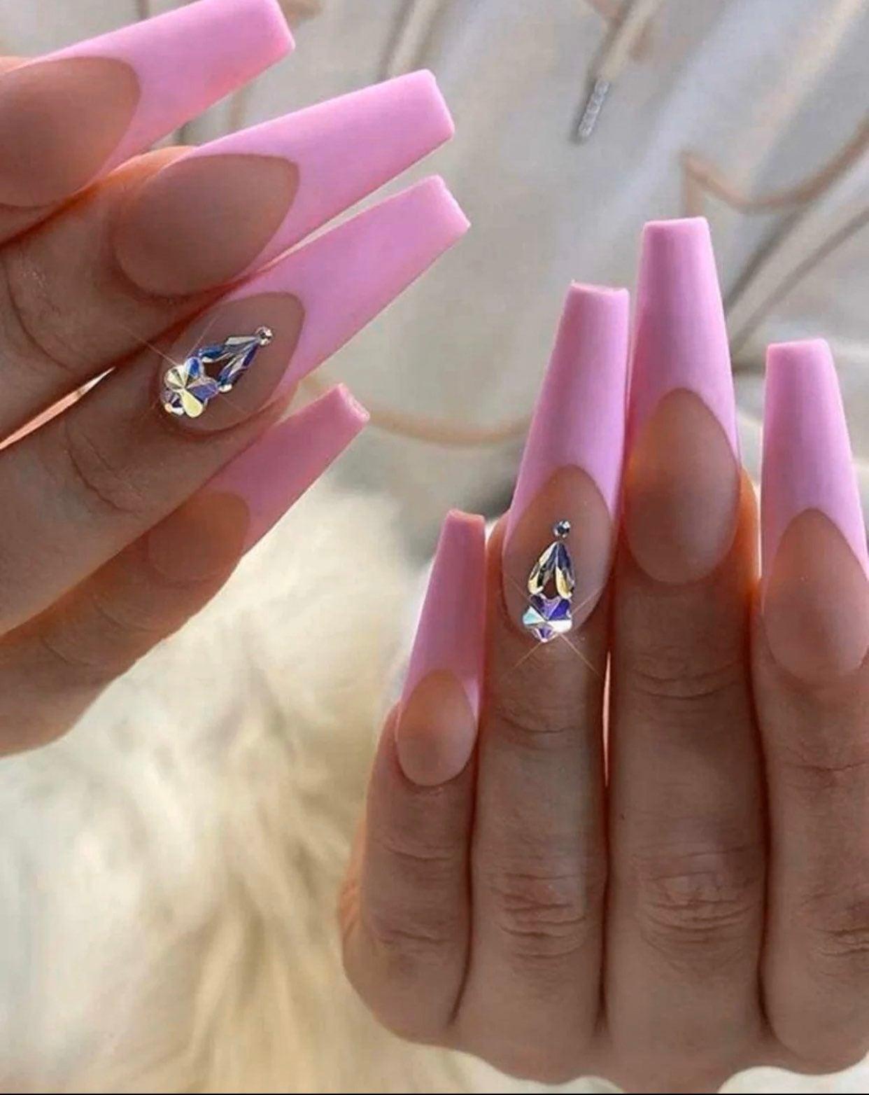 24 piece pink fake nails