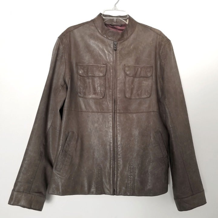 Ted Baker Grey Brown Leather Jacket