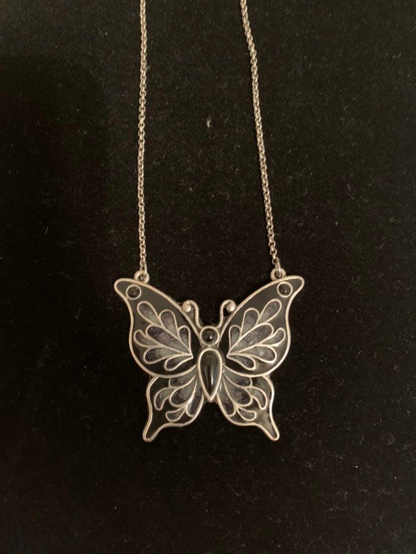 Enamel Butterfly Reversible Necklace