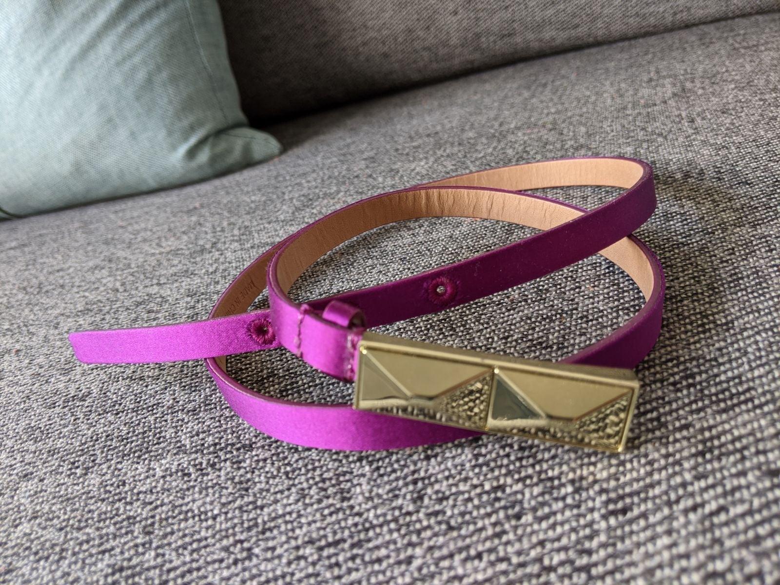 Talbots skinny purple leather belt