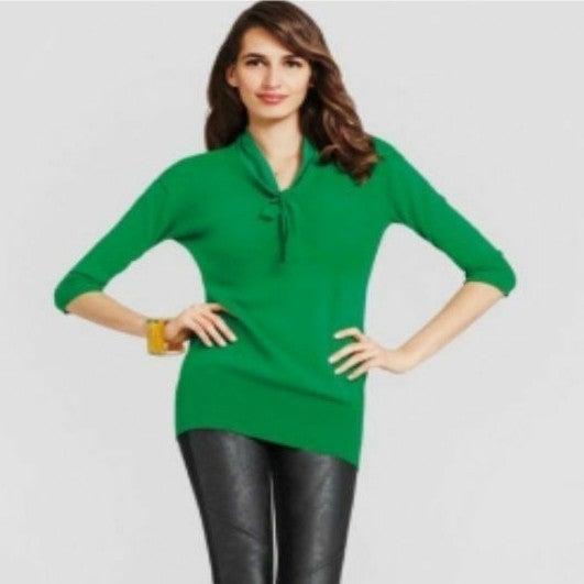 Cabi green tie sweater 3/4 sleeves mediu