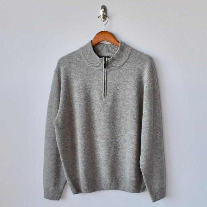 JOS A Bank Grey Zip Wool Sweater