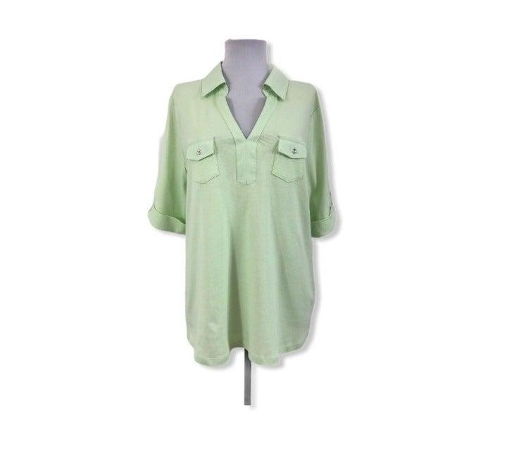 Karen Scott NWT 0X XL Knit Blouse Green