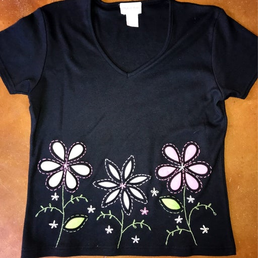 Black tshirt with floral design
