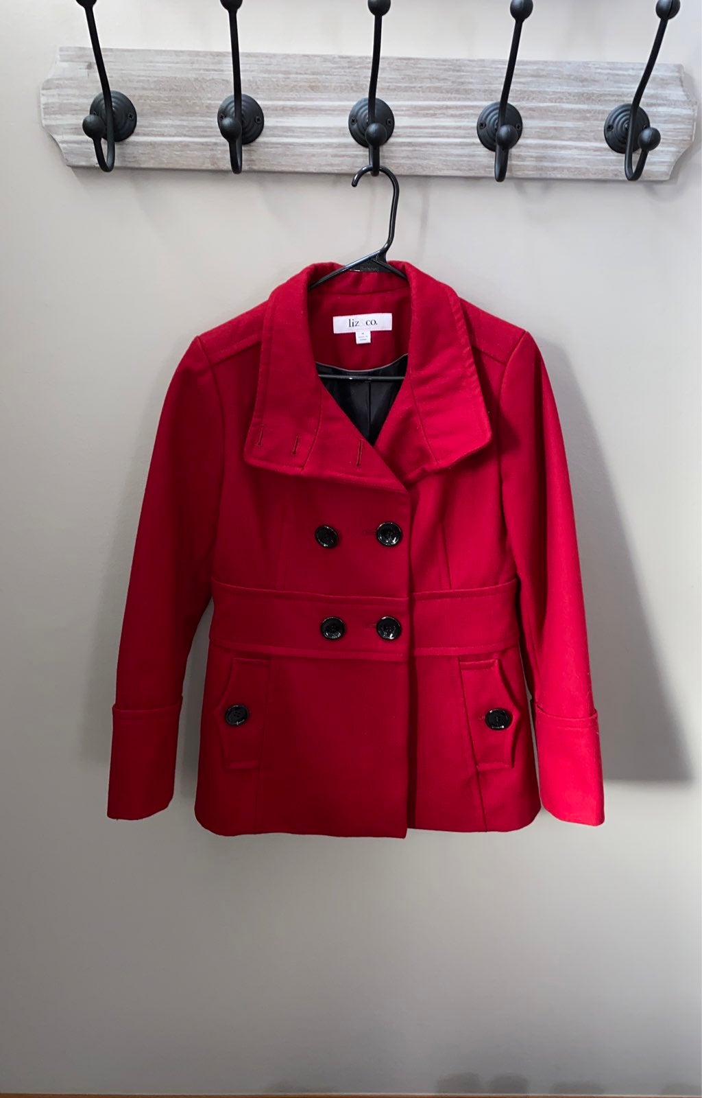 Womens red peacoat