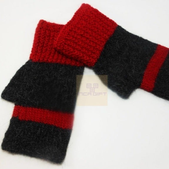 Red-Charcoal Handmade Alpaca Gloves