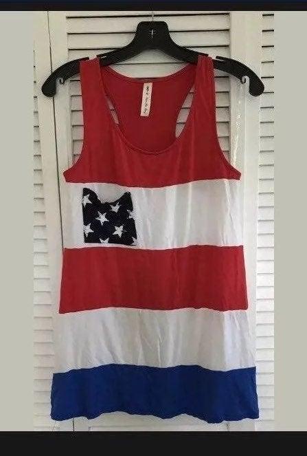 Long tank top USA Patriotic