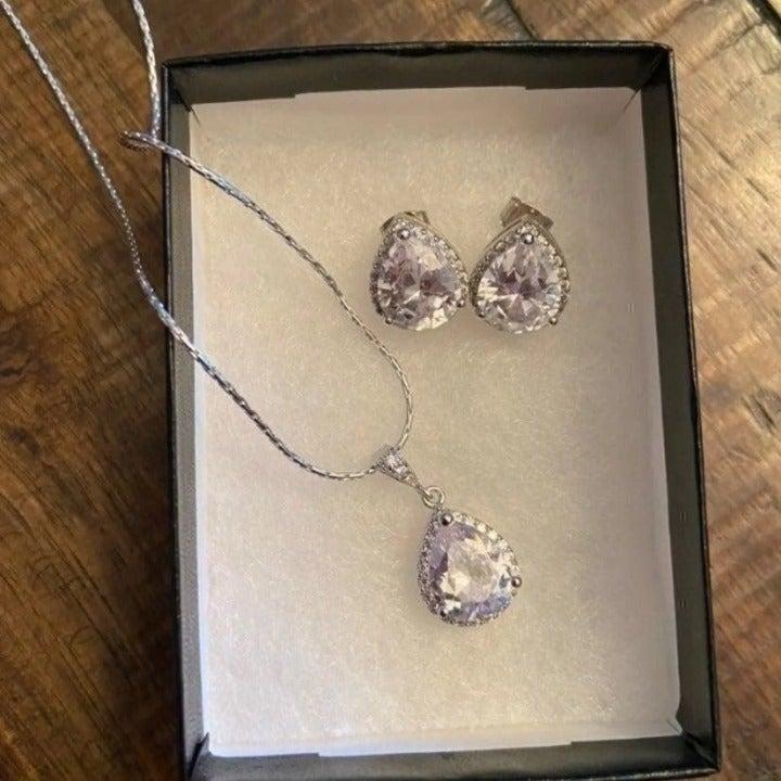 white crystal bridal jewelry set