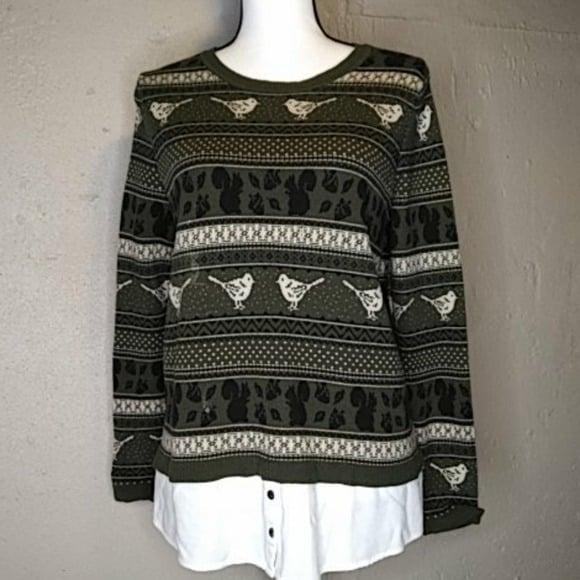 Bass Faux Layered Look Shirt Sweater M