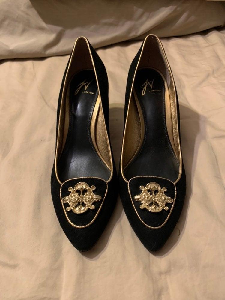 J Vincent black and gold stiletto heels