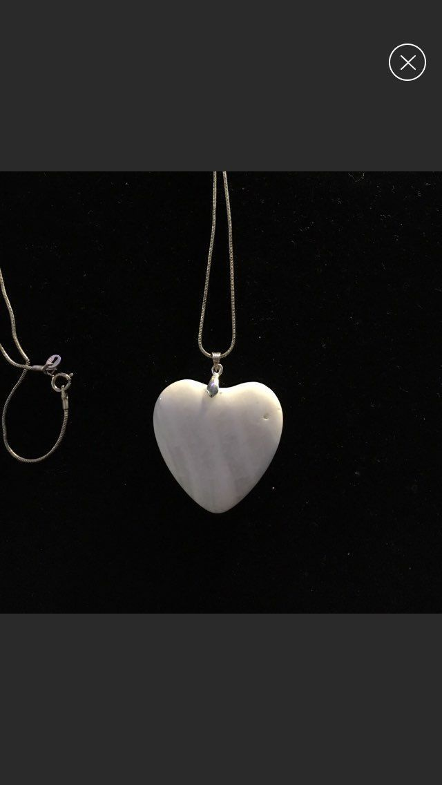 """Solid Ivory Heart 925 21"""" Necklace"""